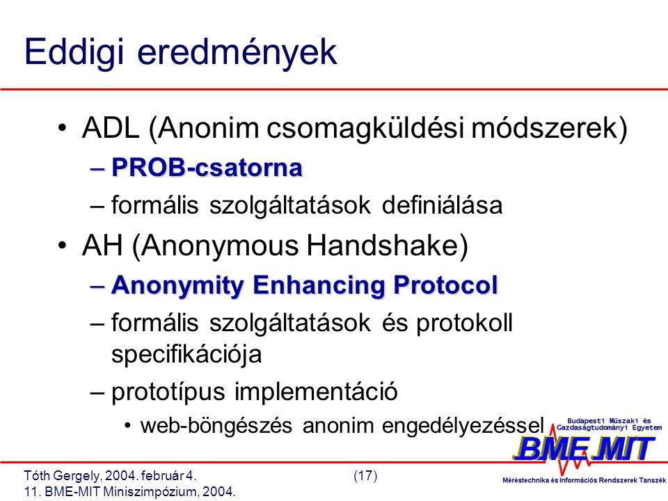 Tóth Gergely, 2004. február 4.(17) 11. BME-MIT Miniszimpózium, 2004. Eddigi eredmények ADL (Anonim csomagküldési módszerek) –PROB-csatorna –formális s