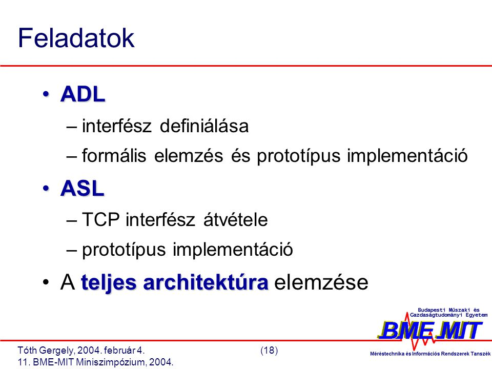 Tóth Gergely, 2004. február 4.(18) 11. BME-MIT Miniszimpózium, 2004. Feladatok ADLADL –interfész definiálása –formális elemzés és prototípus implement