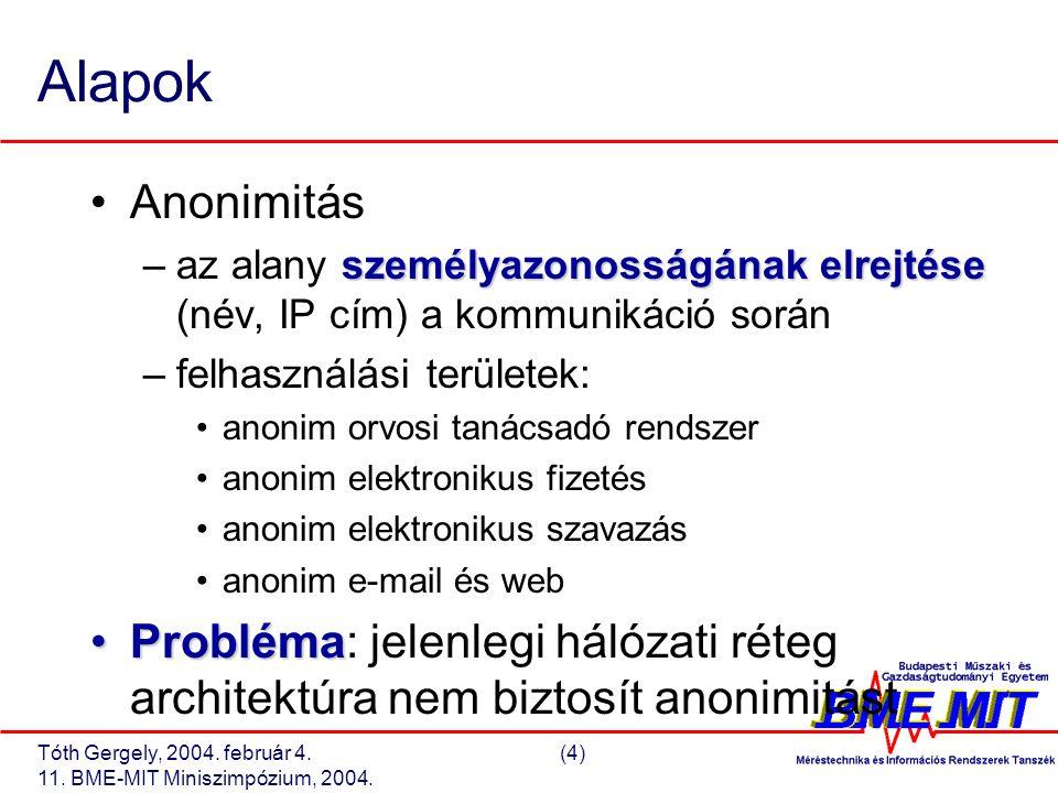 Tóth Gergely, 2004. február 4.(4) 11. BME-MIT Miniszimpózium, 2004. Alapok Anonimitás személyazonosságának elrejtése –az alany személyazonosságának el