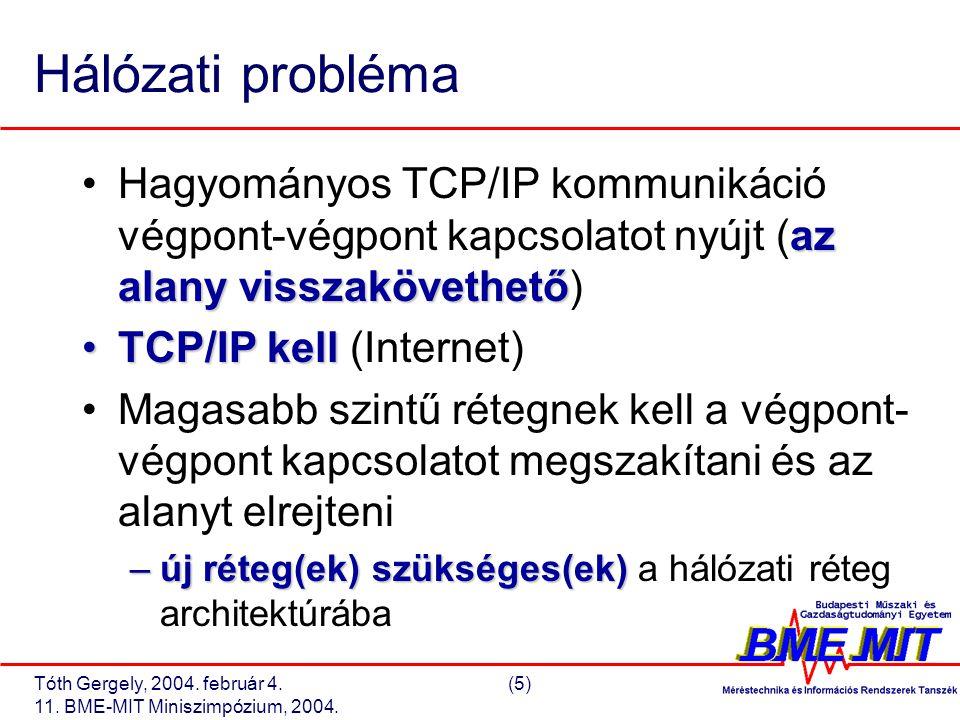 Tóth Gergely, 2004. február 4.(5) 11. BME-MIT Miniszimpózium, 2004. Hálózati probléma az alany visszakövethetőHagyományos TCP/IP kommunikáció végpont-