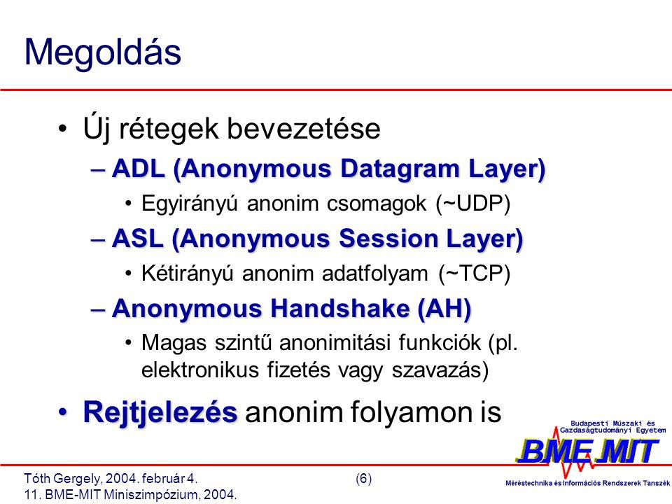 Tóth Gergely, 2004. február 4.(6) 11. BME-MIT Miniszimpózium, 2004. Megoldás Új rétegek bevezetése –ADL (Anonymous Datagram Layer) Egyirányú anonim cs