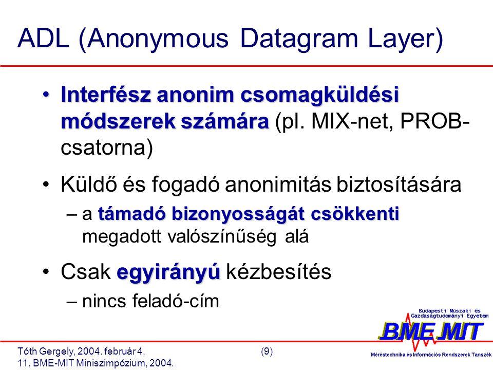 Tóth Gergely, 2004. február 4.(9) 11. BME-MIT Miniszimpózium, 2004. ADL (Anonymous Datagram Layer) Interfész anonim csomagküldési módszerek számáraInt