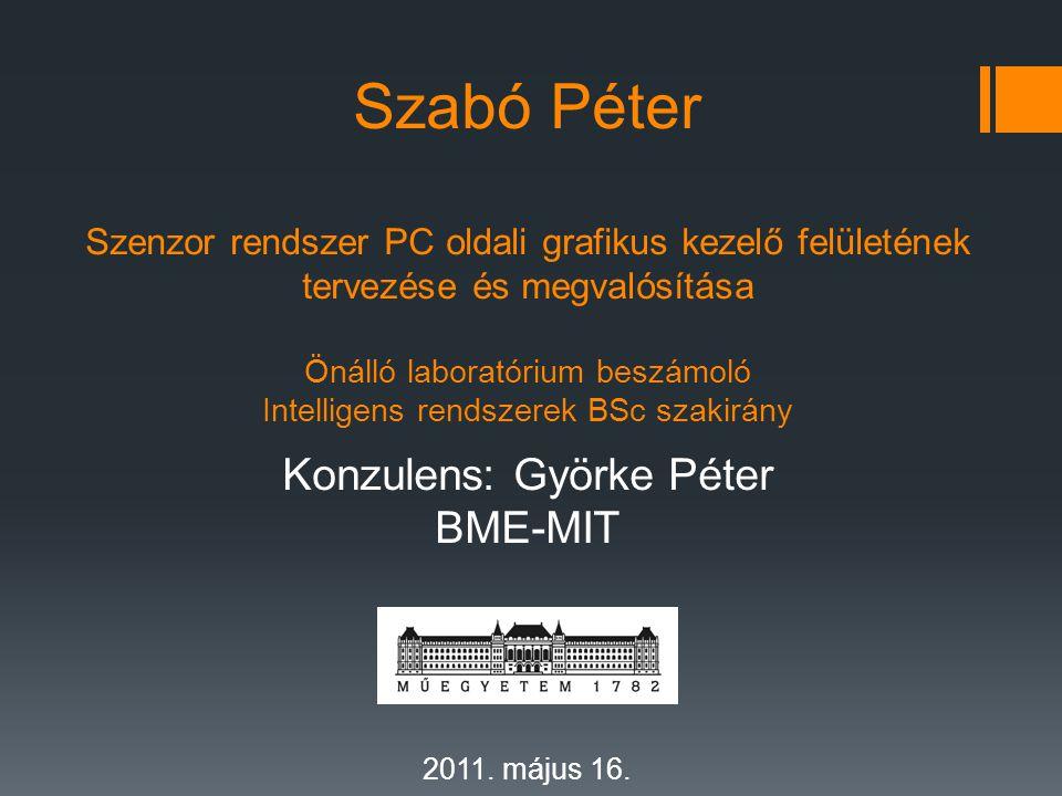 Szabó Péter Szenzor rendszer PC oldali grafikus kezelő felületének tervezése és megvalósítása Önálló laboratórium beszámoló Intelligens rendszerek BSc