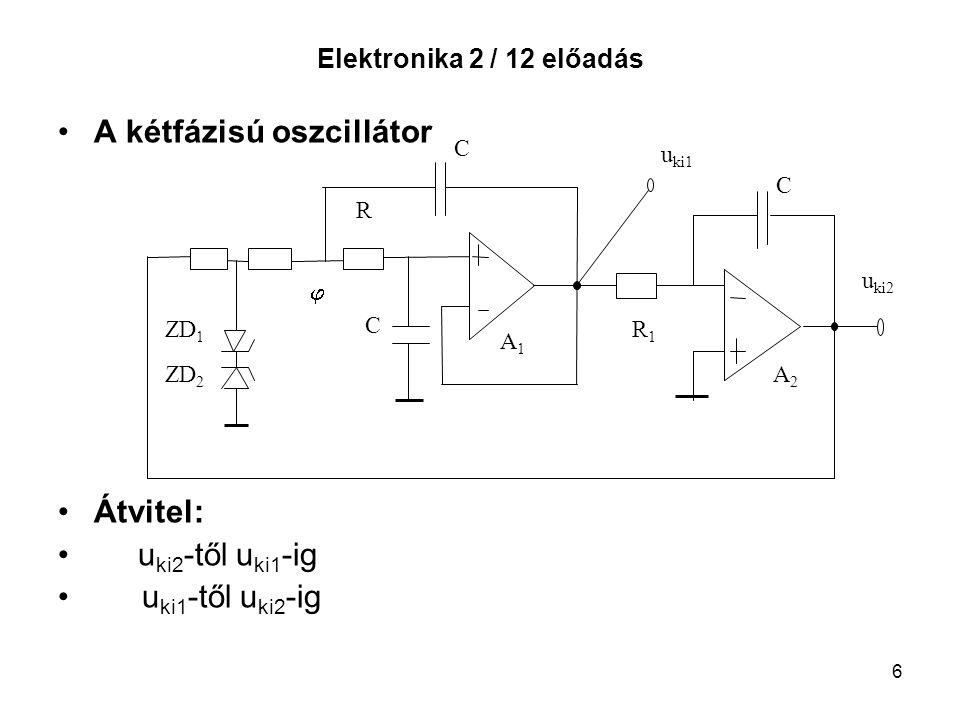6 Elektronika 2 / 12 előadás A kétfázisú oszcillátor Átvitel: u ki2 -től u ki1 -ig u ki1 -től u ki2 -ig R R1R1 A1A1 A2A2 C C C u ki1 u ki2 ZD 1 ZD 2 
