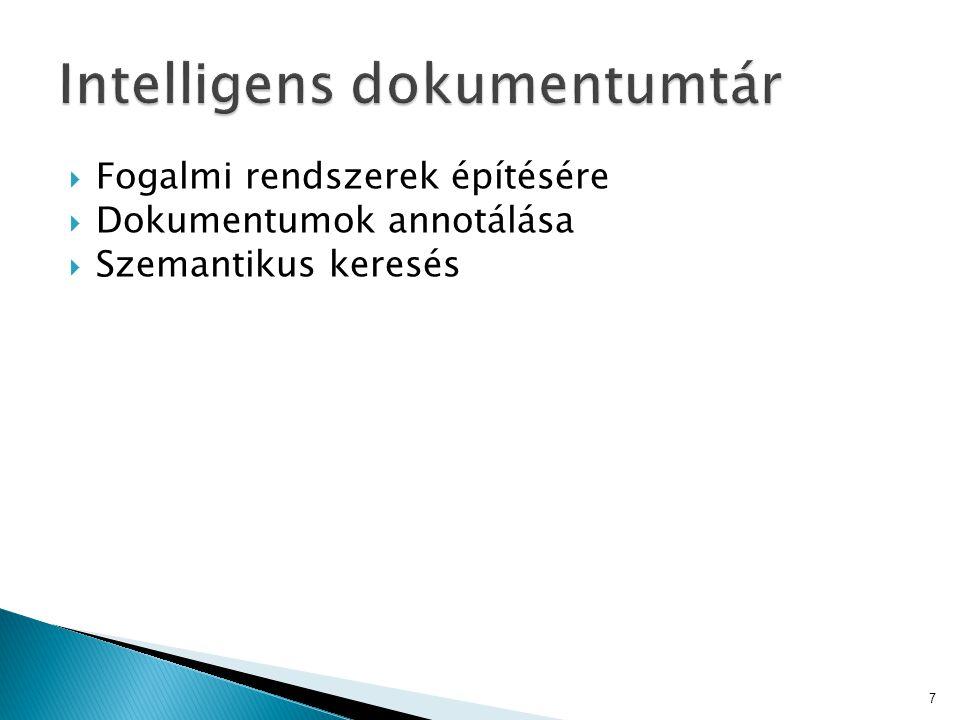  Fogalmi rendszerek építésére  Dokumentumok annotálása  Szemantikus keresés 7
