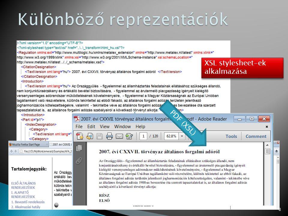 8 HTML (XSL) PDF (XSL) XSL stylesheet-ek alkalmazása