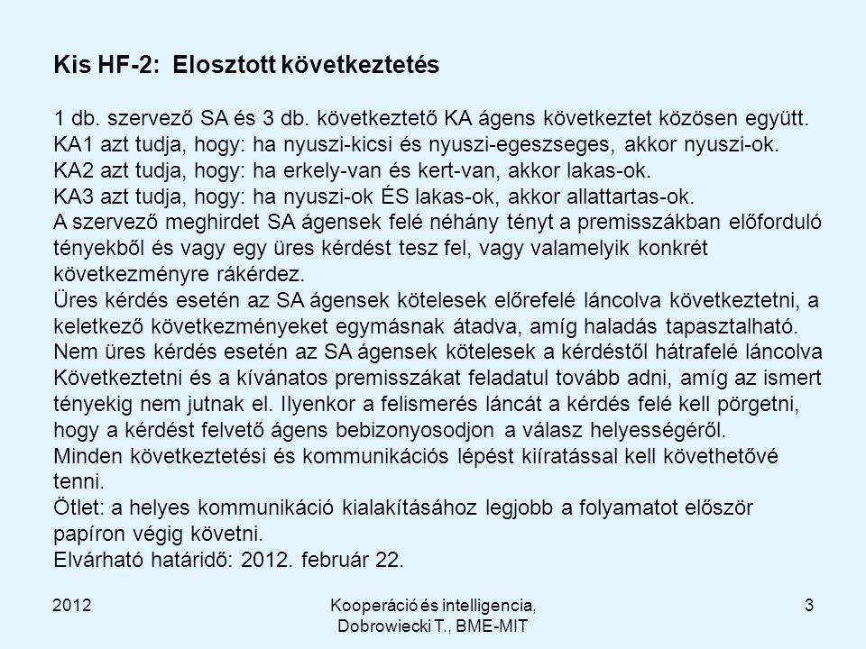 2012Kooperáció és intelligencia, Dobrowiecki T., BME-MIT 3 Kis HF-2: Elosztott következtetés 1 db.