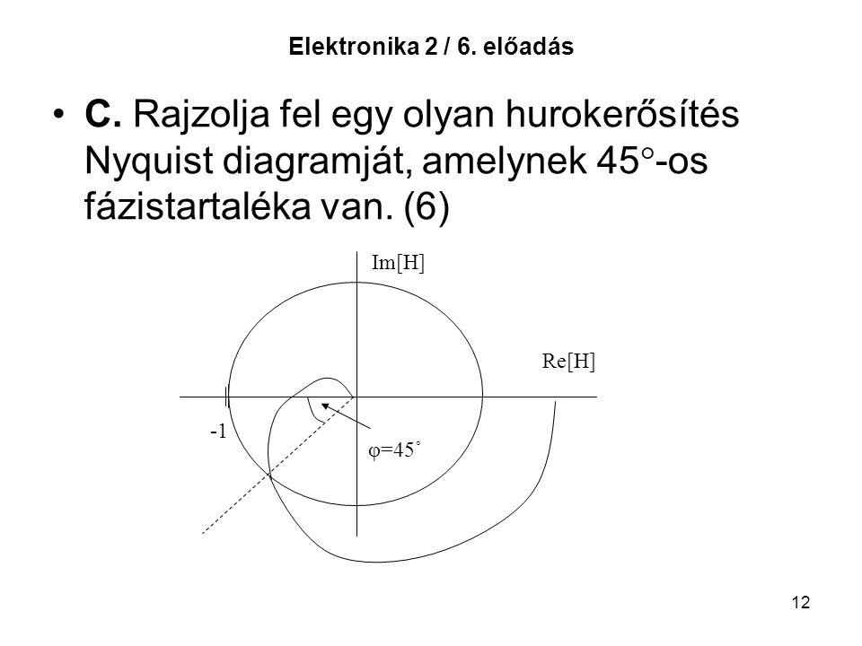12 Elektronika 2 / 6. előadás C. Rajzolja fel egy olyan hurokerősítés Nyquist diagramját, amelynek 45  -os fázistartaléka van. (6) Im[H] Re[H] φ=45˚