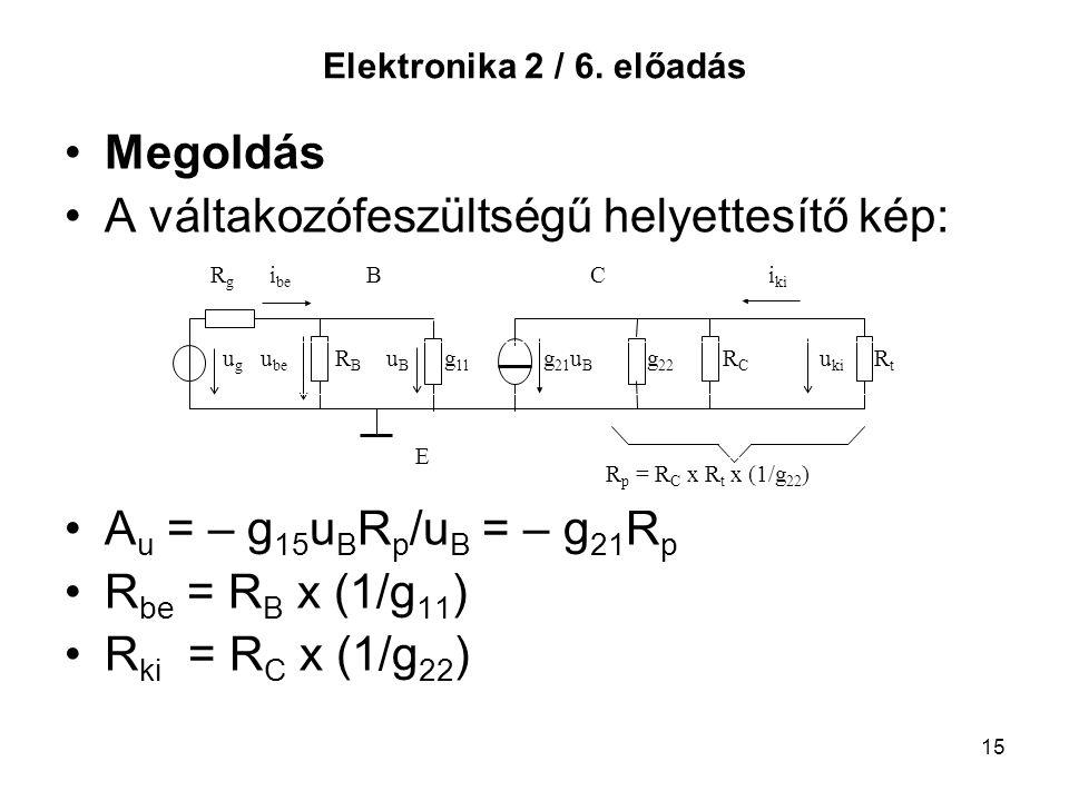 15 Elektronika 2 / 6. előadás Megoldás A váltakozófeszültségű helyettesítő kép: A u = – g 15 u B R p /u B = – g 21 R p R be = R B x (1/g 11 ) R ki = R