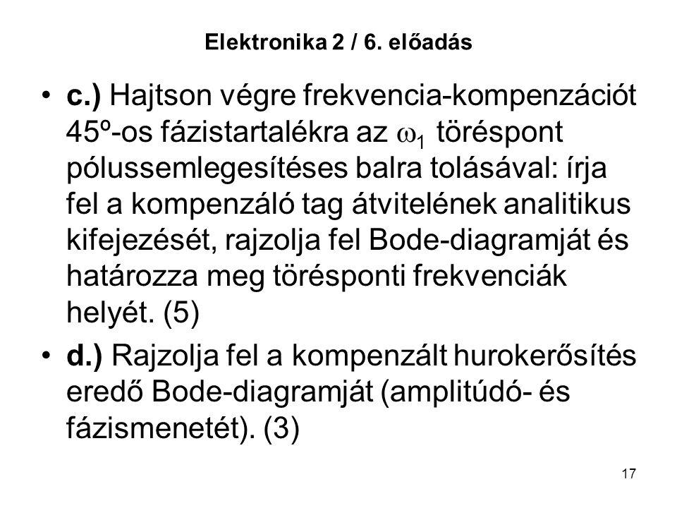 17 Elektronika 2 / 6. előadás c.) Hajtson végre frekvencia-kompenzációt 45º-os fázistartalékra az  1 töréspont pólussemlegesítéses balra tolásával: í