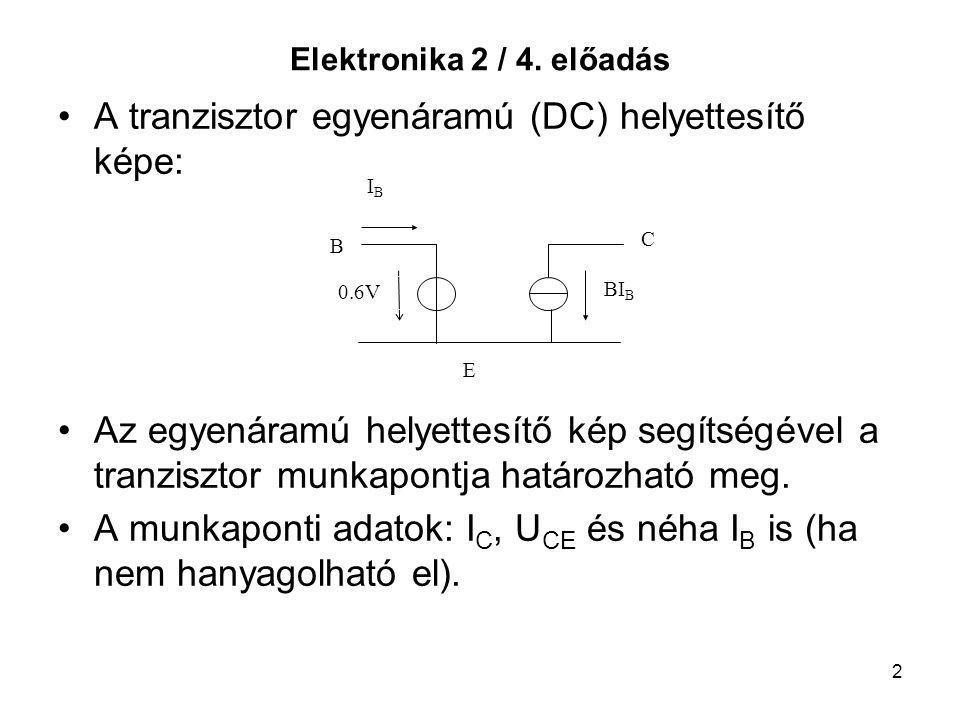 2 Elektronika 2 / 4. előadás A tranzisztor egyenáramú (DC) helyettesítő képe: Az egyenáramú helyettesítő kép segítségével a tranzisztor munkapontja ha