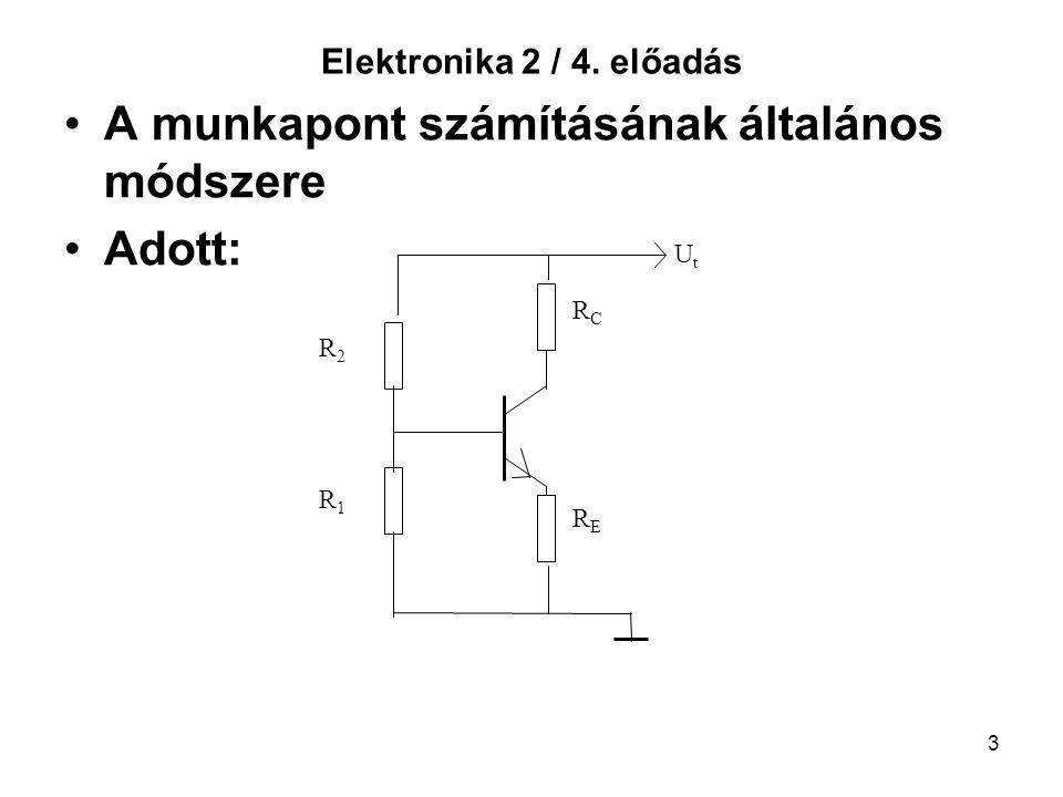 3 Elektronika 2 / 4. előadás A munkapont számításának általános módszere Adott: RCRC RERE UtUt R2R2 R1R1