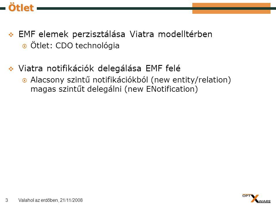 3 Ötlet  EMF elemek perzisztálása Viatra modelltérben  Ötlet: CDO technológia  Viatra notifikációk delegálása EMF felé  Alacsony szintű notifikáci