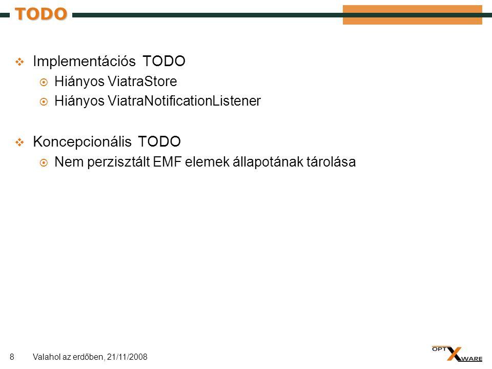 8 TODO  Implementációs TODO  Hiányos ViatraStore  Hiányos ViatraNotificationListener  Koncepcionális TODO  Nem perzisztált EMF elemek állapotának tárolása Valahol az erdőben, 21/11/2008