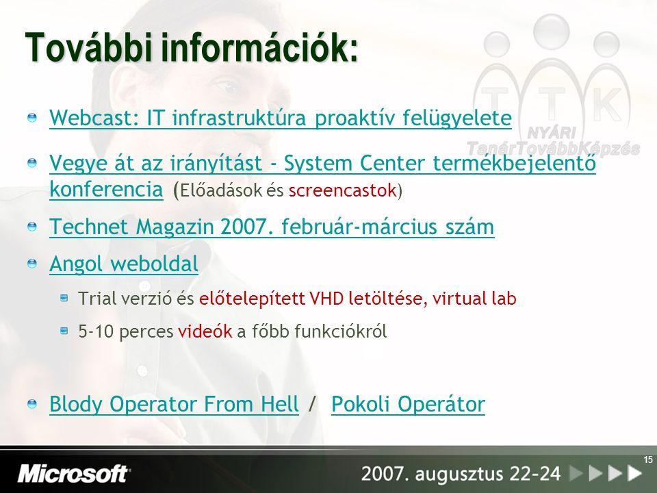 15 További információk: Webcast: IT infrastruktúra proaktív felügyelete Vegye át az irányítást - System Center termékbejelentő konferenciaVegye át az irányítást - System Center termékbejelentő konferencia ( Előadások és screencastok) Technet Magazin 2007.