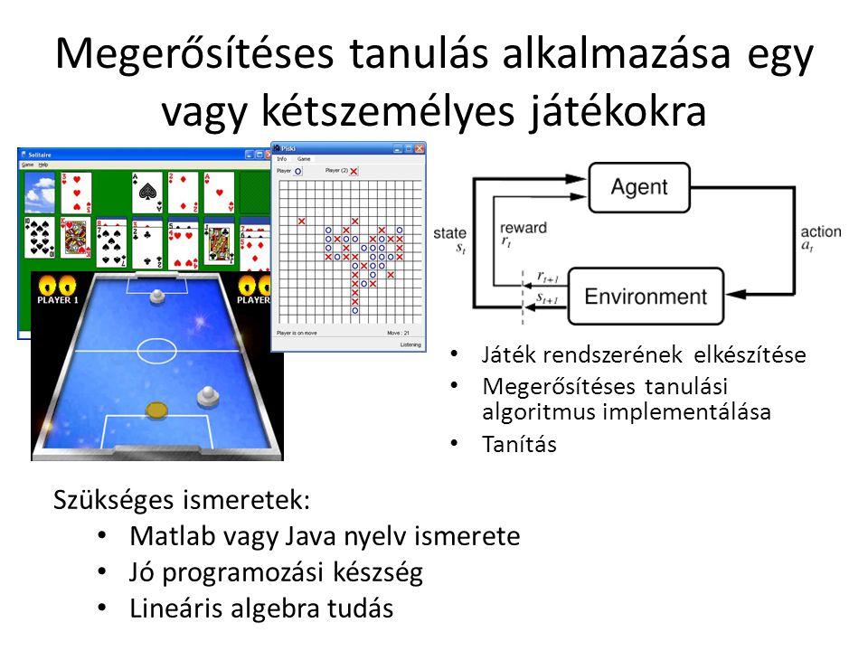 Megerősítéses tanulás alkalmazása egy vagy kétszemélyes játékokra Játék rendszerének elkészítése Megerősítéses tanulási algoritmus implementálása Tanítás Szükséges ismeretek: Matlab vagy Java nyelv ismerete Jó programozási készség Lineáris algebra tudás