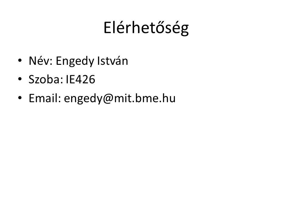 Elérhetőség Név: Engedy István Szoba: IE426 Email: engedy@mit.bme.hu