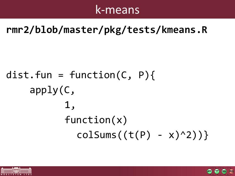 k-means rmr2/blob/master/pkg/tests/kmeans.R dist.fun = function(C, P){ apply(C, 1, function(x) colSums((t(P) - x)^2))}