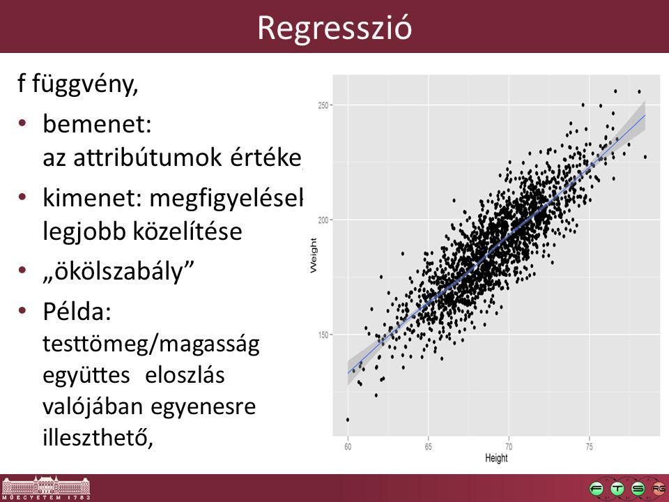 """Regresszió f függvény, bemenet: az attribútumok értéke, kimenet: megfigyelések legjobb közelítése """"ökölszabály Példa: testtömeg/magasság együttes eloszlás valójában egyenesre illeszthető,"""