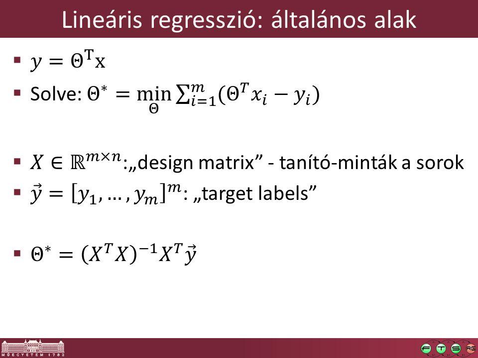 Lineáris regresszió: általános alak