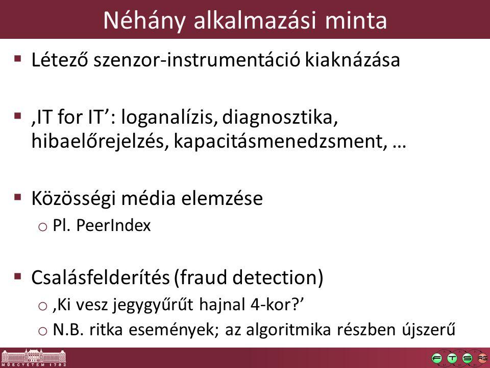 Néhány alkalmazási minta  Létező szenzor-instrumentáció kiaknázása  'IT for IT': loganalízis, diagnosztika, hibaelőrejelzés, kapacitásmenedzsment, …  Közösségi média elemzése o Pl.