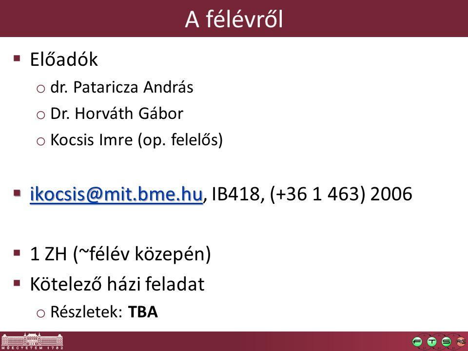 A félévről  Előadók o dr. Pataricza András o Dr.