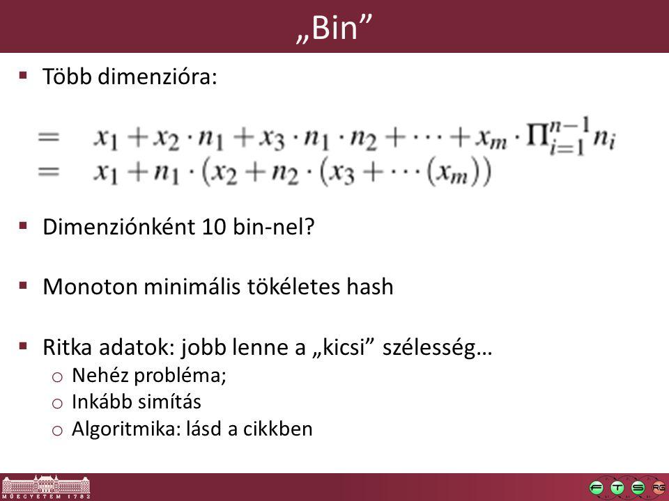 """""""Bin  Több dimenzióra:  Dimenziónként 10 bin-nel."""