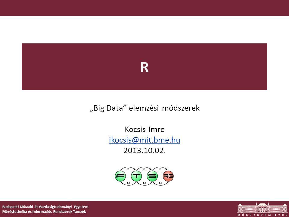 """R  Az S nyelv """"GNU verziója o Környezet és nyelv egyben  Statisztikai számítások és grafika  Nem csak ingyenes; nyílt is  Hatékonyság: """"kihívás C/C++/FORTRAN-ba  Egyre inkább """"lingua franca , ha adatot kell elemezni"""