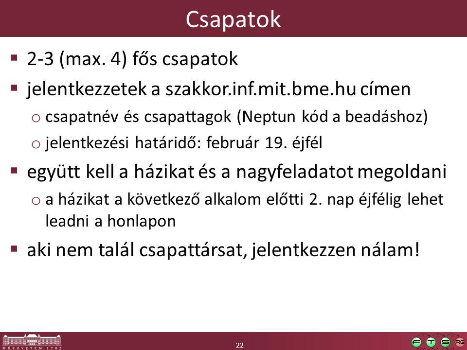 22 Csapatok 22  2-3 (max.