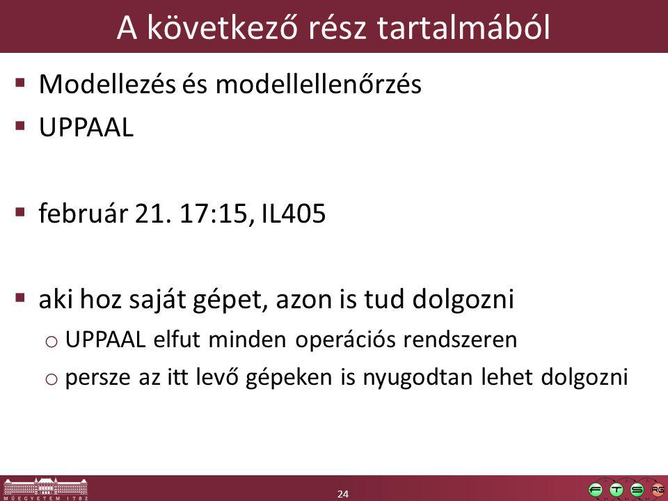 24 A következő rész tartalmából 24  Modellezés és modellellenőrzés  UPPAAL  február 21.