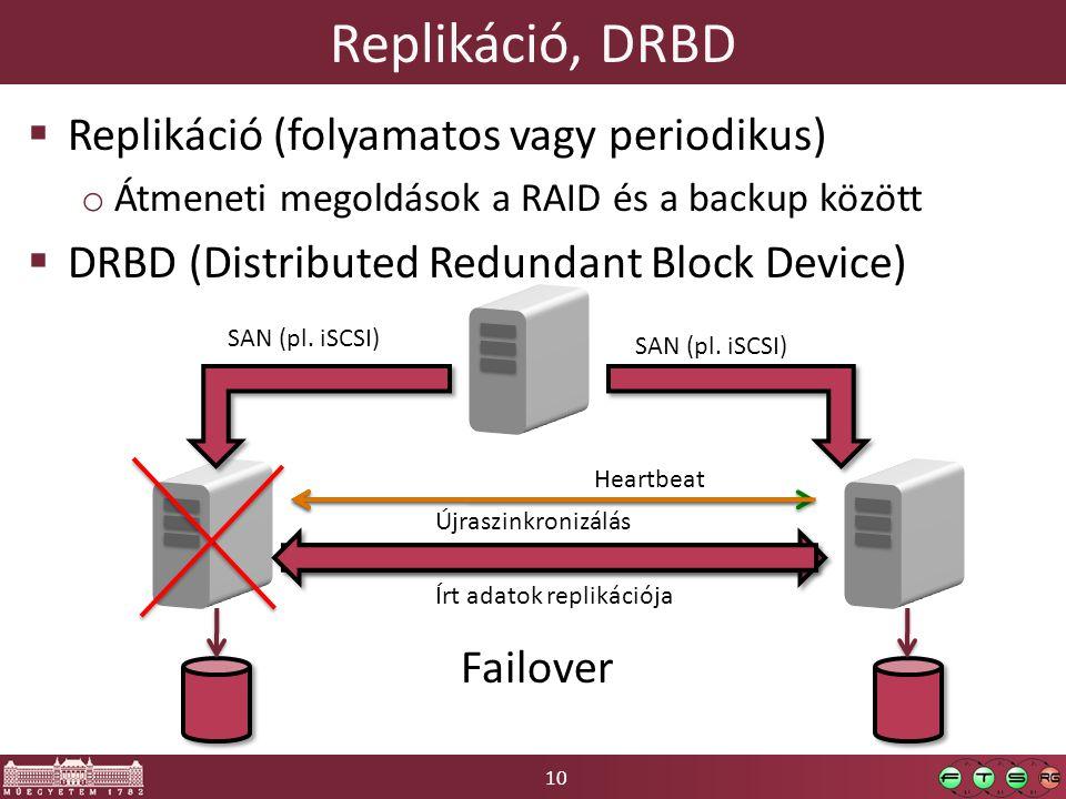 10 Replikáció, DRBD  Replikáció (folyamatos vagy periodikus) o Átmeneti megoldások a RAID és a backup között  DRBD (Distributed Redundant Block Device) Heartbeat SAN (pl.