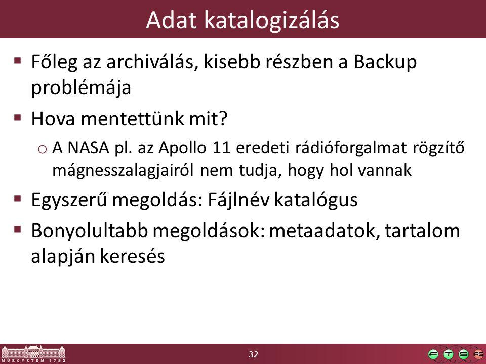32 Adat katalogizálás  Főleg az archiválás, kisebb részben a Backup problémája  Hova mentettünk mit.