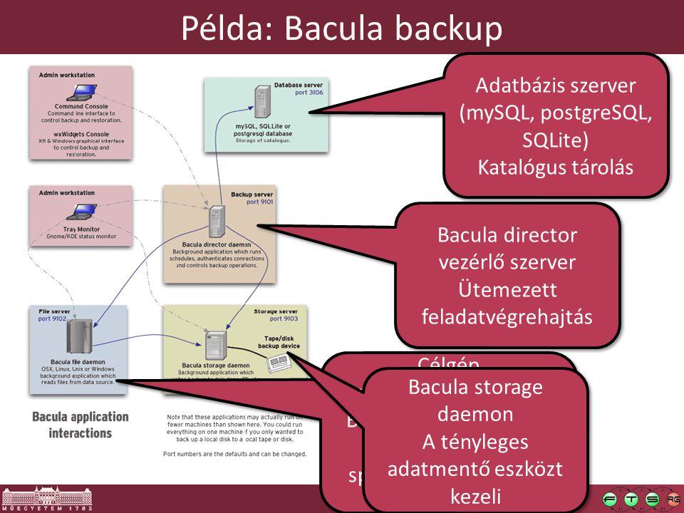33 Példa: Bacula backup Célgép (az ő tartalmát mentjük) Bacula saját ágense itt fut.