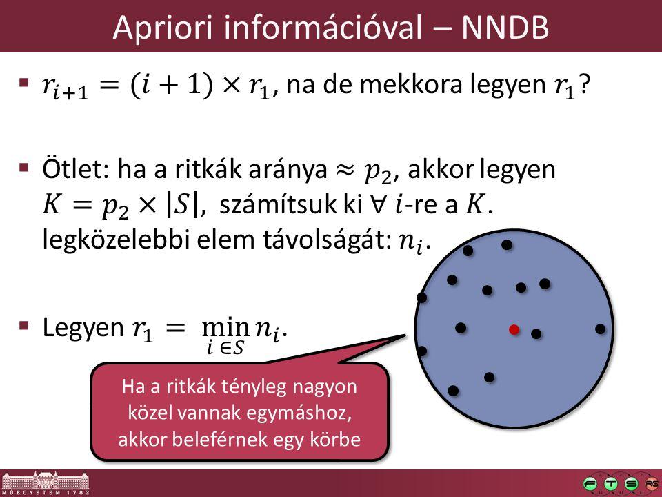 Apriori információval – NNDB Ha a ritkák tényleg nagyon közel vannak egymáshoz, akkor beleférnek egy körbe