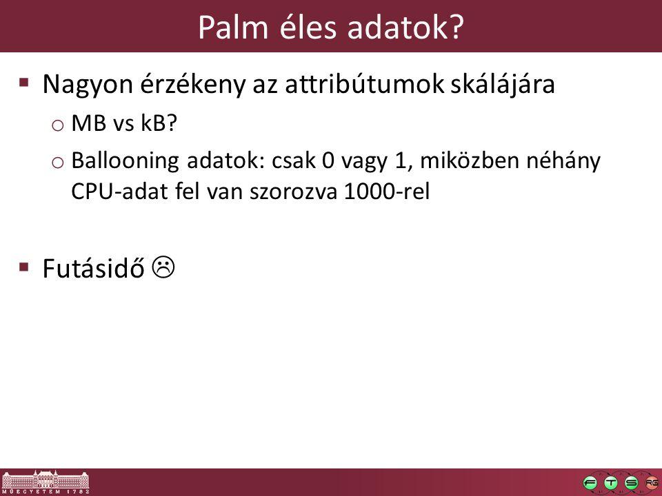 Palm éles adatok.  Nagyon érzékeny az attribútumok skálájára o MB vs kB.