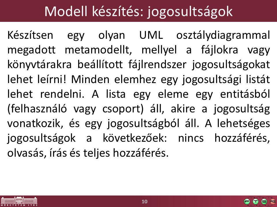 10 Modell készítés: jogosultságok Készítsen egy olyan UML osztálydiagrammal megadott metamodellt, mellyel a fájlokra vagy könyvtárakra beállított fájlrendszer jogosultságokat lehet leírni.