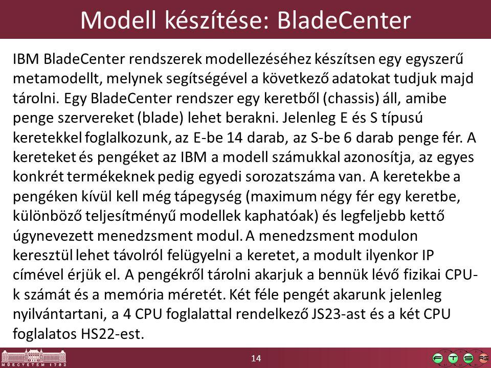 14 Modell készítése: BladeCenter IBM BladeCenter rendszerek modellezéséhez készítsen egy egyszerű metamodellt, melynek segítségével a következő adatokat tudjuk majd tárolni.