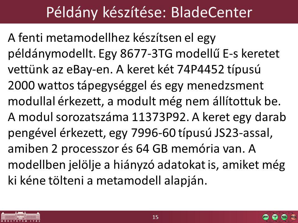 15 Példány készítése: BladeCenter A fenti metamodellhez készítsen el egy példánymodellt.
