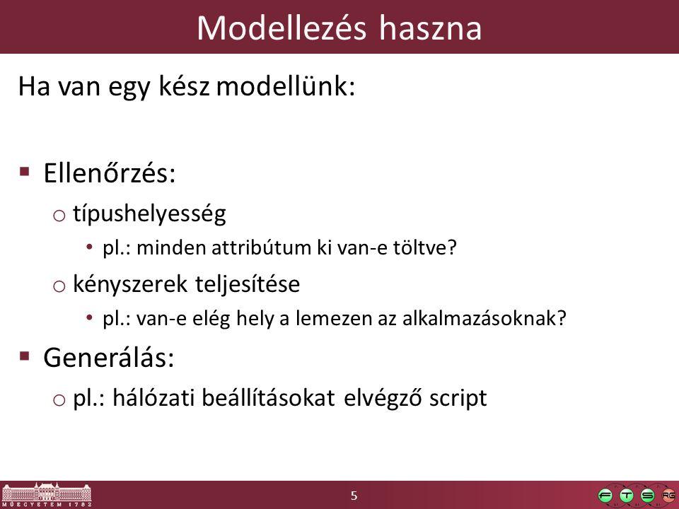 5 Modellezés haszna Ha van egy kész modellünk:  Ellenőrzés: o típushelyesség pl.: minden attribútum ki van-e töltve.