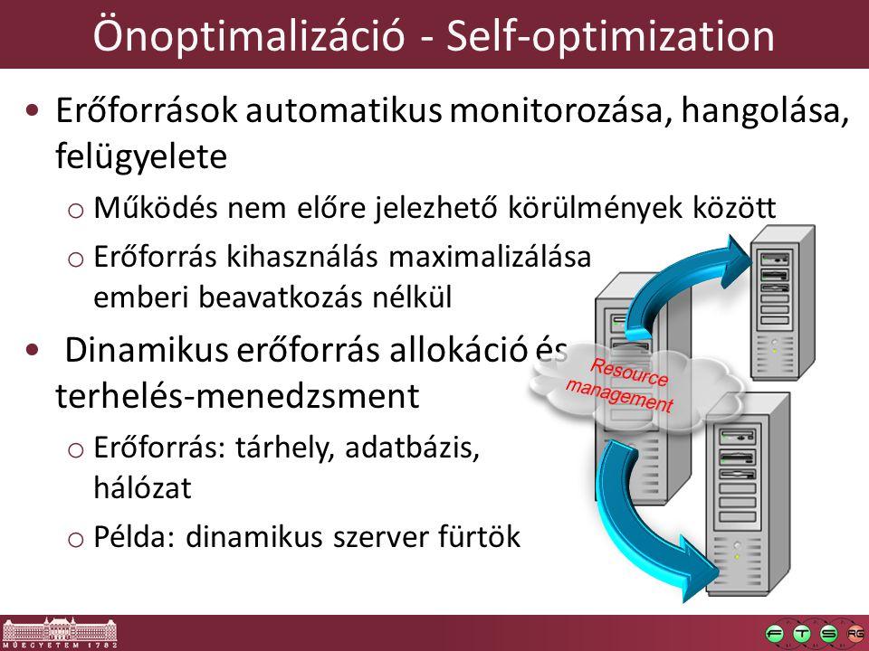 Önoptimalizáció - Self-optimization Erőforrások automatikus monitorozása, hangolása, felügyelete o Működés nem előre jelezhető körülmények között o Erőforrás kihasználás maximalizálása emberi beavatkozás nélkül Dinamikus erőforrás allokáció és terhelés-menedzsment o Erőforrás: tárhely, adatbázis, hálózat o Példa: dinamikus szerver fürtök