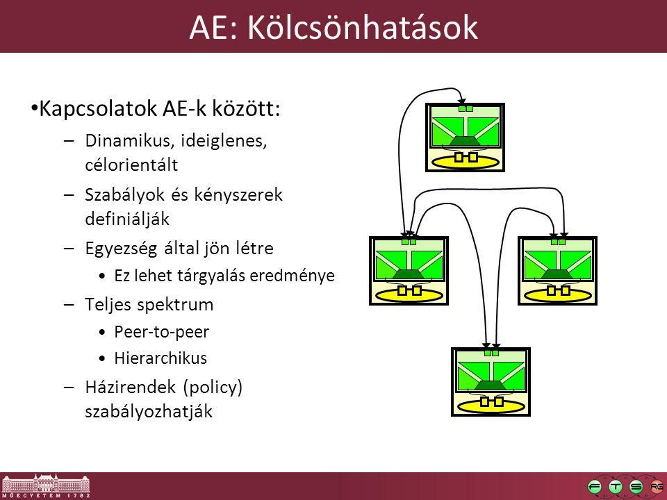 AE: Kölcsönhatások Kapcsolatok AE-k között: –Dinamikus, ideiglenes, célorientált –Szabályok és kényszerek definiálják –Egyezség által jön létre Ez lehet tárgyalás eredménye –Teljes spektrum Peer-to-peer Hierarchikus –Házirendek (policy) szabályozhatják