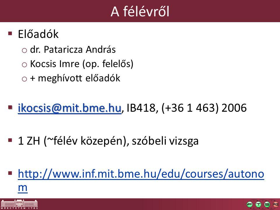 A félévről  Előadók o dr. Pataricza András o Kocsis Imre (op.