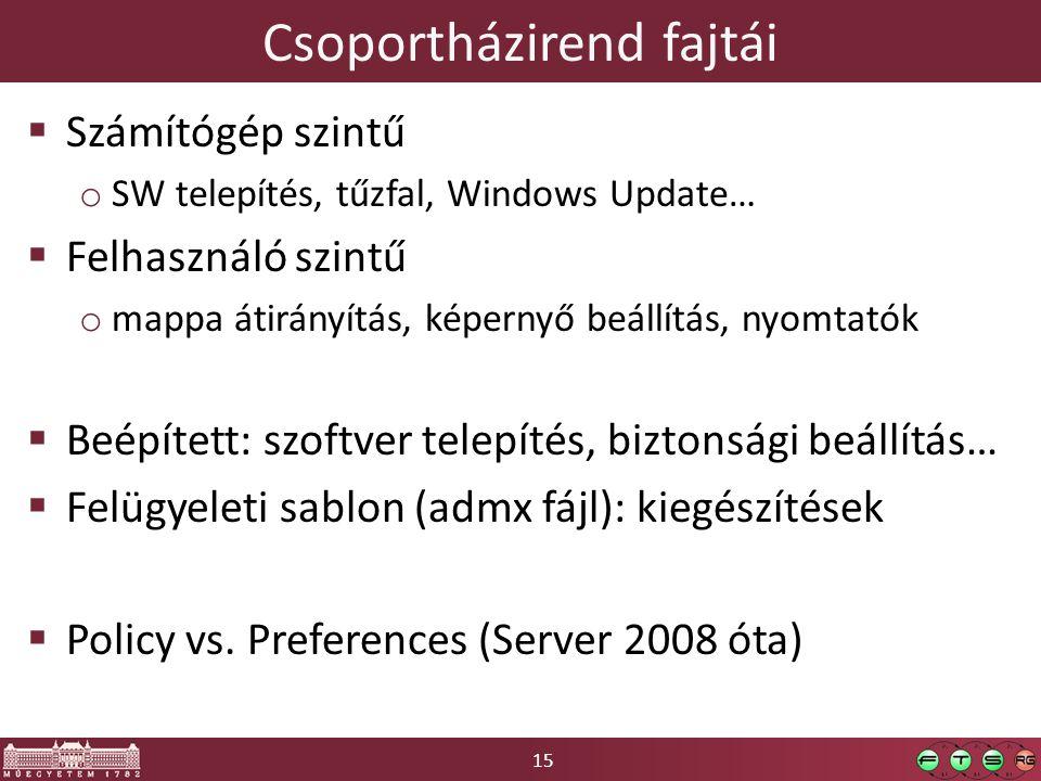 15 Csoportházirend fajtái  Számítógép szintű o SW telepítés, tűzfal, Windows Update…  Felhasználó szintű o mappa átirányítás, képernyő beállítás, nyomtatók  Beépített: szoftver telepítés, biztonsági beállítás…  Felügyeleti sablon (admx fájl): kiegészítések  Policy vs.