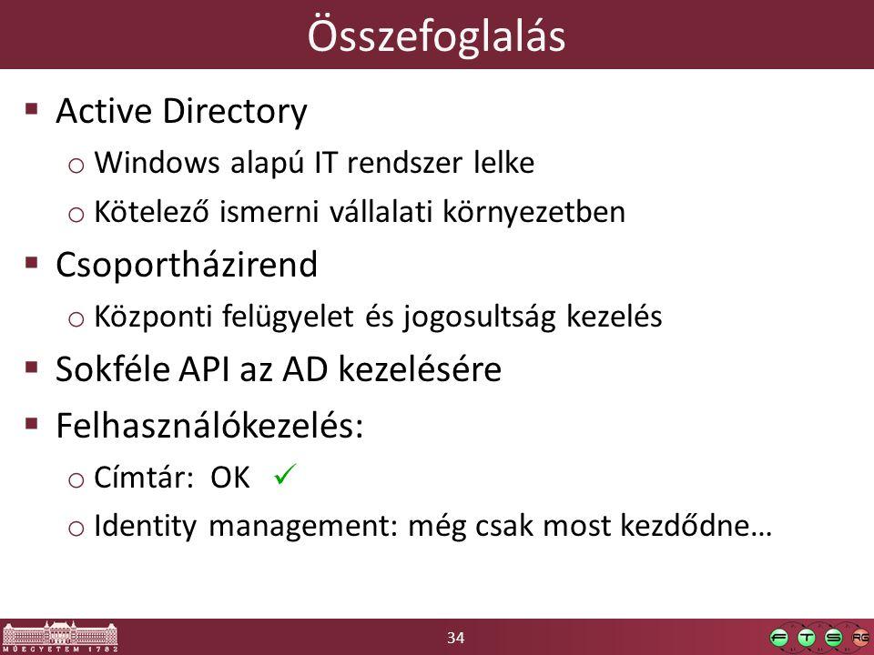 34 Összefoglalás  Active Directory o Windows alapú IT rendszer lelke o Kötelező ismerni vállalati környezetben  Csoportházirend o Központi felügyele