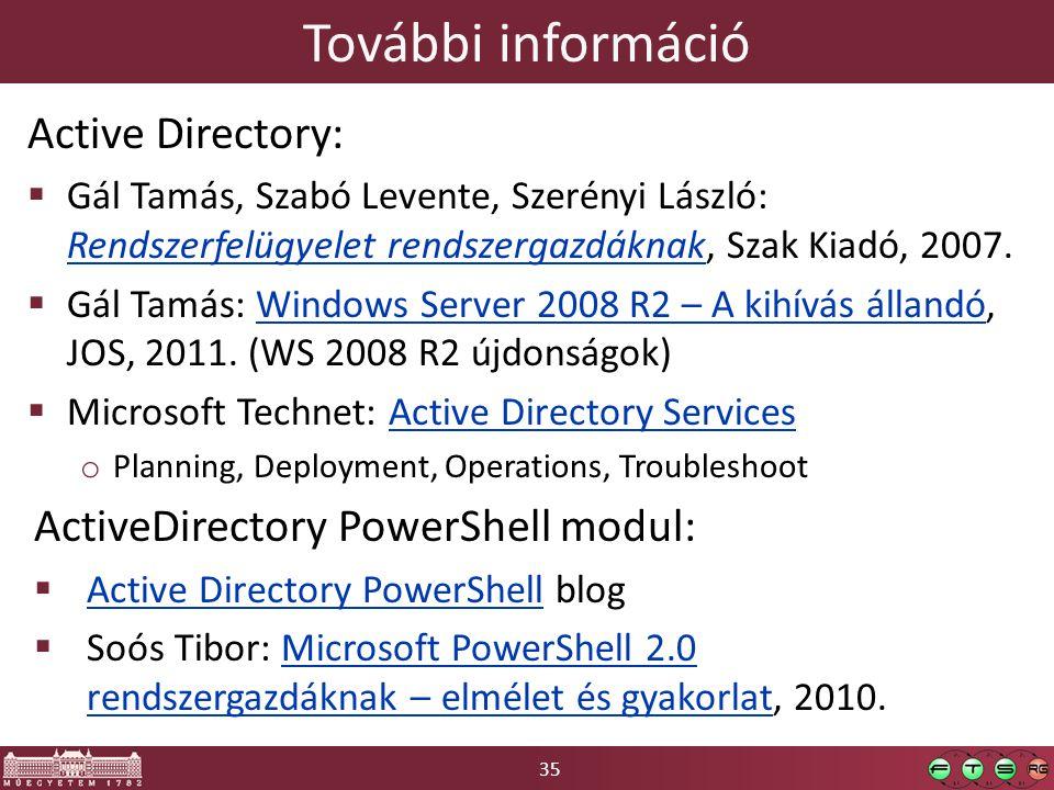 35 További információ Active Directory:  Gál Tamás, Szabó Levente, Szerényi László: Rendszerfelügyelet rendszergazdáknak, Szak Kiadó, 2007.