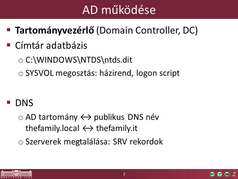 7 AD működése  Tartományvezérlő (Domain Controller, DC)  Címtár adatbázis o C:\WINDOWS\NTDS\ntds.dit o SYSVOL megosztás: házirend, logon script  DNS o AD tartomány ↔ publikus DNS név thefamily.local ↔ thefamily.it o Szerverek megtalálása: SRV rekordok