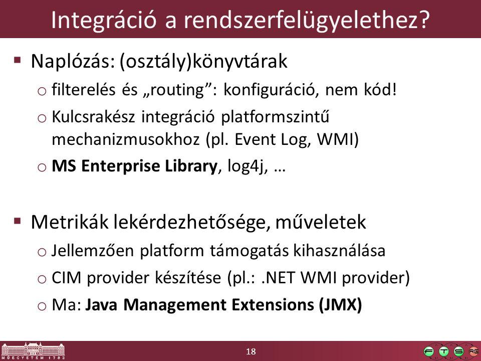 """18 Integráció a rendszerfelügyelethez?  Naplózás: (osztály)könyvtárak o filterelés és """"routing"""": konfiguráció, nem kód! o Kulcsrakész integráció plat"""
