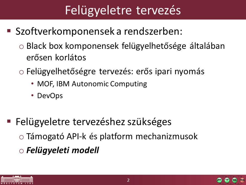 2 Felügyeletre tervezés  Szoftverkomponensek a rendszerben: o Black box komponensek felügyelhetősége általában erősen korlátos o Felügyelhetőségre tervezés: erős ipari nyomás MOF, IBM Autonomic Computing DevOps  Felügyeletre tervezéshez szükséges o Támogató API-k és platform mechanizmusok o Felügyeleti modell