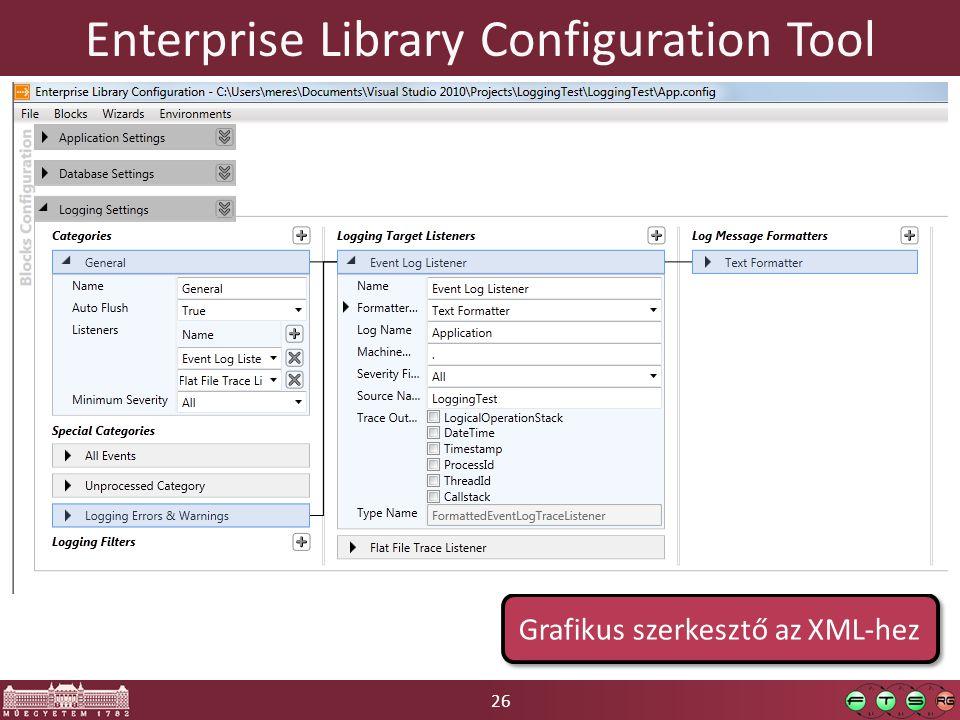 26 Enterprise Library Configuration Tool Grafikus szerkesztő az XML-hez