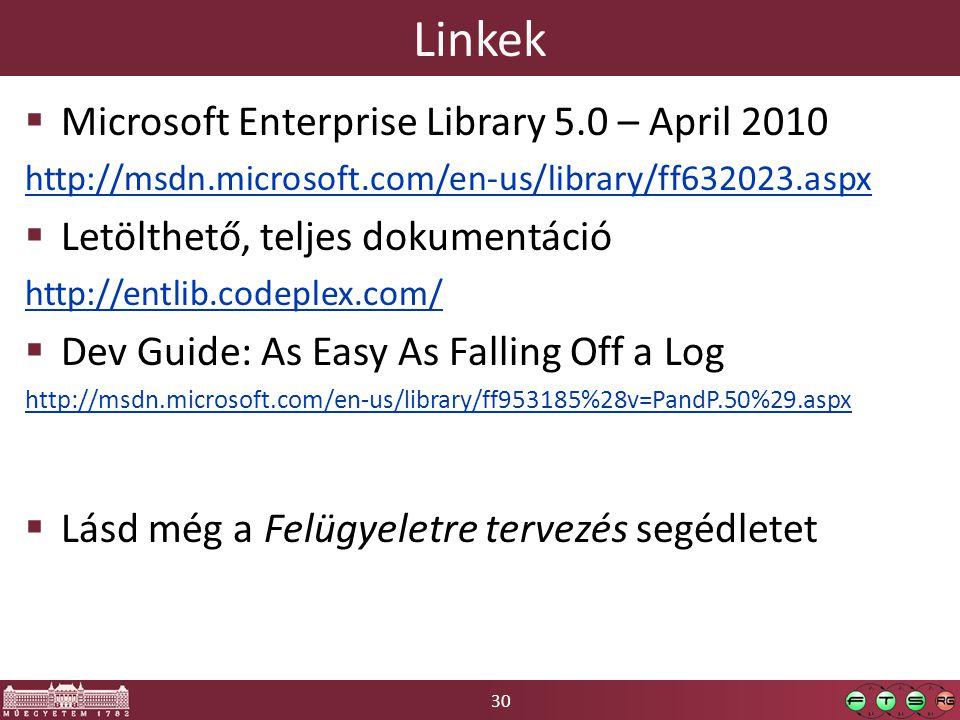 30 Linkek  Microsoft Enterprise Library 5.0 – April 2010 http://msdn.microsoft.com/en-us/library/ff632023.aspx  Letölthető, teljes dokumentáció http://entlib.codeplex.com/  Dev Guide: As Easy As Falling Off a Log http://msdn.microsoft.com/en-us/library/ff953185%28v=PandP.50%29.aspx  Lásd még a Felügyeletre tervezés segédletet